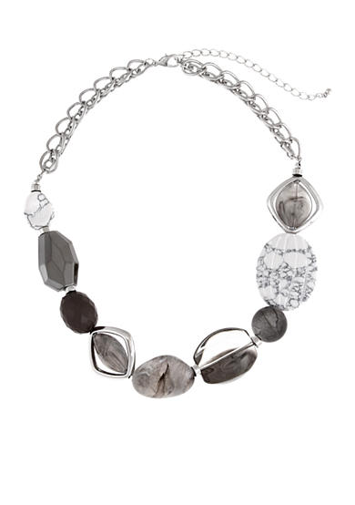 Erica Lyons Silver-Tone Grey Area Chunky Bead Front Necklace