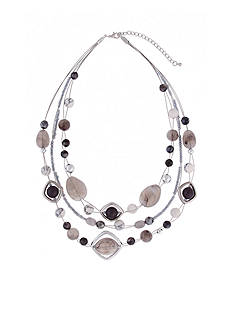 Erica Lyons Silver-Tone Gray Area Short Illusion Necklace