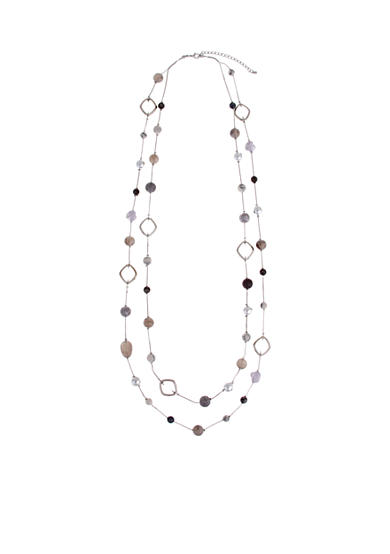 Erica Lyons Silver-Tone Gray Area Long Layered Necklace