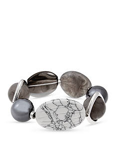 Erica Lyons Silver-Tone Gray Area Large Bead Stretch Bracelet