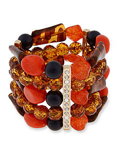 Erica Lyons Gold-Tone Totally Reinvented Beaded Stretch Bracelet