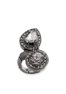 Erica Lyons Hematite-Tone Glamorous Two Stone Fashion Stretch Ring