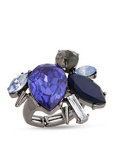 Erica Lyons Hematite-Tone Stone Cluster Fashion Stretch Ring Boxed Gift