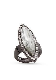 Erica Lyons Hematite-Tone Glamorous Long Navette Fashion Stretch Ring