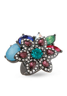 Erica Lyons Hematite-Tone Flower Fashion Stretch Ring Boxed Gift