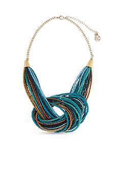 Erica Lyons Gold-Tone Teal Me About It Knot Multistrand Necklace