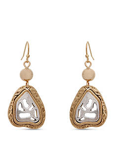 Erica Lyons Gold-Tone Cut It Out Small Drop Earrings