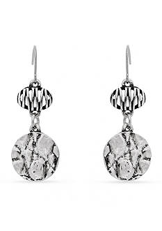 Erica Lyons Silver-Tone Animal House Double Drop Earrings