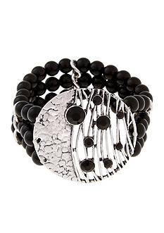 Erica Lyons Silver-Tone Animal House Triple Row Stretch Bracelet