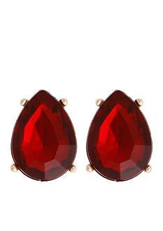 Erica Lyons Gold-Tone La Vida Roja Teardrop Button Earrings