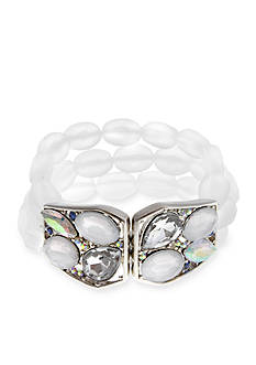 Erica Lyons Silver-Tone Ice Queen Beaded Stretch Bracelet