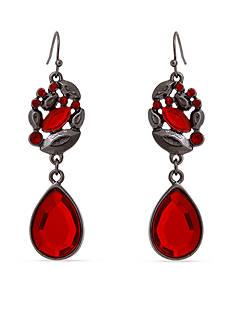 Erica Lyons Hematite-Tone Scarlett Letter Double Drop Earrings