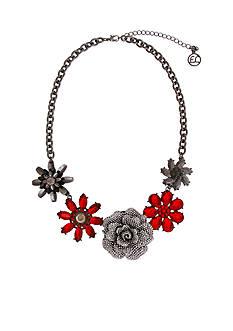 Erica Lyons Hematite-Tone Scarlett Letter Flower Collar Necklace