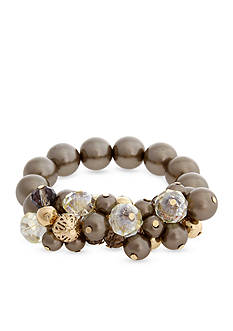 Erica Lyons Gold-Tone Grey Gatsby Shaky Top Stretch Bracelet