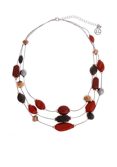 Erica Lyons Hematite-Tone La Vida Roja Short Layered Necklace