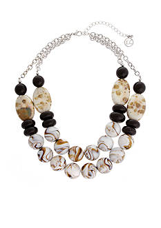 Erica Lyons Silver-Tone Neutral Territory Beaded Collar Necklace