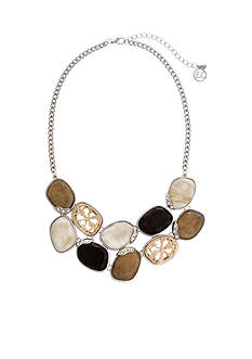 Erica Lyons Silver-Tone Neutral Territory Stone Collar Necklace
