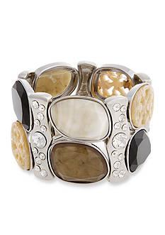 Erica Lyons Silver-Tone Neutral Territory Stone Stretch Bracelet