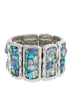 Erica Lyons Silver-Tone Moody Blues Rectangles Stretch Bracelet