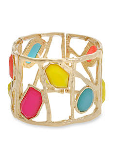 Erica Lyons Gold-Tone Brighten Your Day Wide Stretch Bracelet