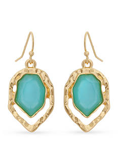 Erica Lyons Gold-Tone Brighten Your Day Aqua Drop Earrings