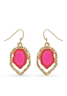 Erica Lyons Gold-Tone Brighten Your Day Pink Drop Earrings