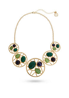 Erica Lyons Gold-Tone Mid Summer Night Green Collar Necklace