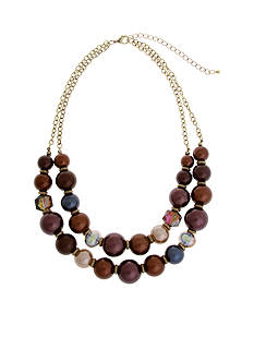 Erica Lyons Gold-Tone Mocha Choco Latte Double Row Beaded Necklace