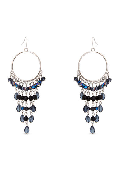 Erica Lyons Silver-Tone You're So Sapphire Dramatic Drop Hoop Earrings