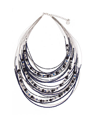 Erica Lyons You're So Sapphire Multi Row Layered Collar Necklace