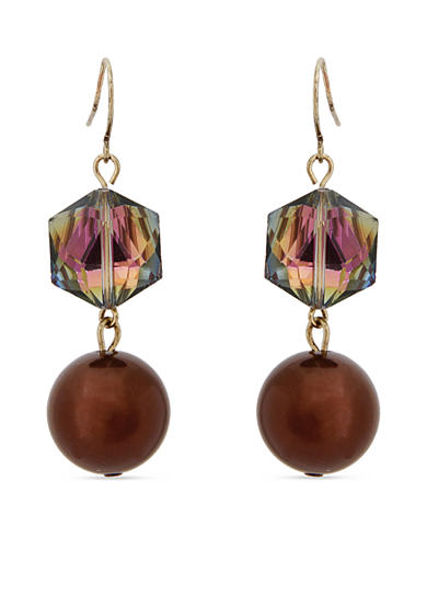 Erica Lyons Gold-Tone Mocha Choco Latte Double Drop Earrings