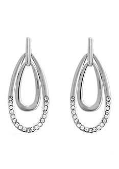 Erica Lyons Silver-Tone Crystal Teardrop Earrings