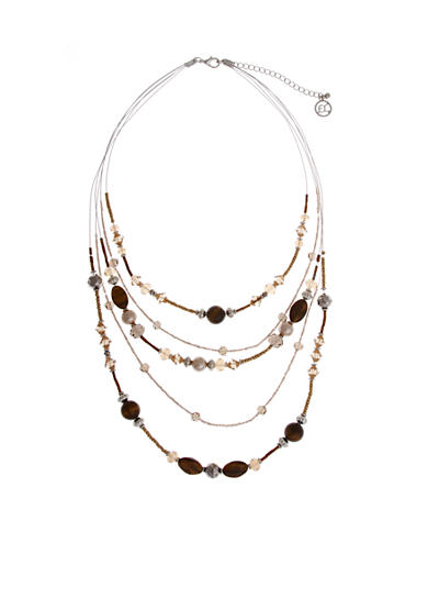 Erica Lyons Silver-Tone Pop Fizz Clink Multi Row Layered Necklace