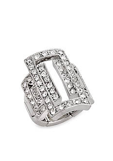 Erica Lyons Silver-Tone Glamorous Open Rectangle Fashion Stretch Ring