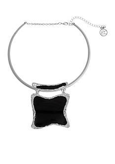 Erica Lyons Silver Tone Choker Square Pendant Necklace