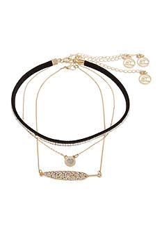 Erica Lyons Gold Tone Choker 3 Piece Choker Necklace Set