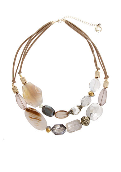 Erica Lyons Gold-Tone Grey Gatsby Double Row Beaded Necklace