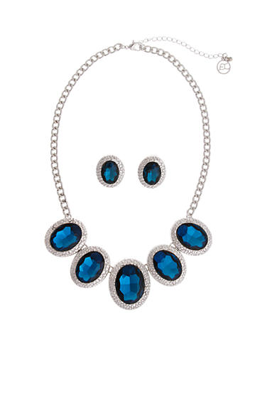 Erica Lyons Silver-Tone Light Sapphire Necklace And Earring Boxed Set