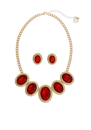 Erica Lyons Gold-Tone Ruby Necklace And Earring Boxed Set