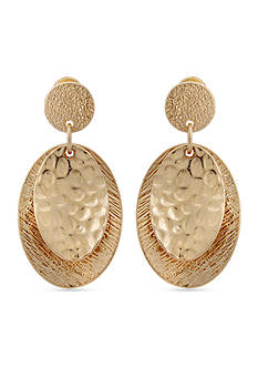 Erica Lyons Gold-Tone Hammered Oval Drop Earrings