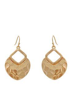 Erica Lyons Gold-Tone Hammered Triangle Drop Earrings