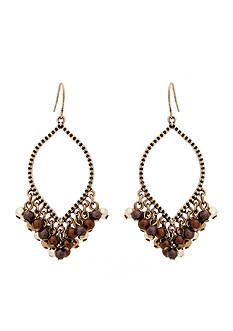 Erica Lyons Gold-Tone Mocha Choco Latte Fringe Drop Earrings