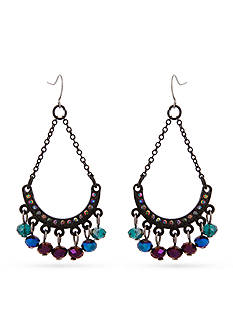 Erica Lyons Hematite-Tone Bad Romance Swag Chandelier Earrings