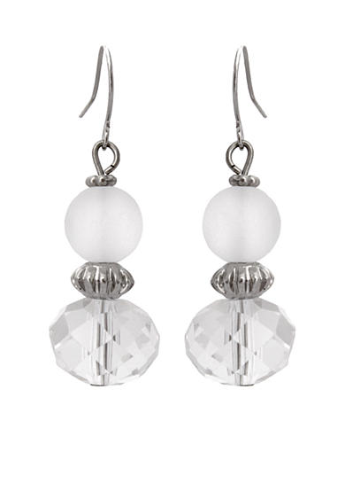 Erica Lyons Silver-Tone Ice Queen Stacked Bead Earrings