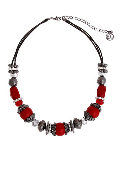 Erica Lyons Hematite-Tone Scarlett Letter Mixed Beaded Necklace