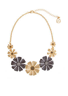 Erica Lyons Gold-Tone Meet Me In Glitzerland Flower Collar Necklace