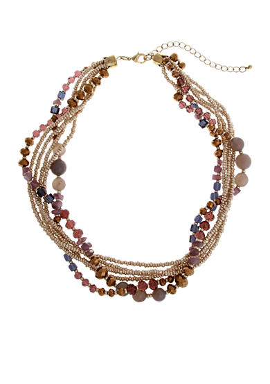 Erica Lyons Gold-Tone Mocha Choco Latte Multiple Row Beaded Short Necklace