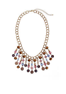 Erica Lyons Gold-Tone Mocha Choco Latte Fringe Front Statement Necklace