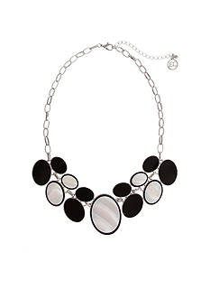 Erica Lyons Silver-Tone Oval Front Necklace