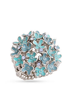 Erica Lyons Silver-Tone Glamorous Flower Fashion Stretch Ring